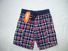 NWT GYMBOREE STAR SPANGLED SUMMER RED NAVY PLAID ELASTIC WAIST SHORTS 4TH JULY