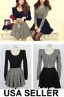 2 Styles BLACK WHITE Houndstooth Print Long Sleeve Flare Dress Sizes XS S M L XL