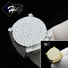 MEN 925 STERLING SILVER LAB DIAMOND GOLD/SILVER ICED OUT ROUND BLING RING*GR55