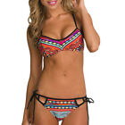 HIGA Womens Ethnic Printed Strappy Beach Bikini Bra Set Swimsuit