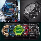 Mens Stainless Steel LED Digital Date Alarm Waterproof Sports Military Watch image