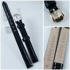 HQ BLACK ITALY CROC GRAIN LEATHER WATCH BAND BRIGHT 6MM 8MM ~34 MMSTRAP w/CLASP