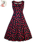 LADY VINTAGE 50's JASMINE CHERRY rockabilly DRESS BLACK