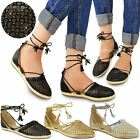 Womens Ladies Flat Low Heel Sandals Ankle Lace Up Espadrilles Summer Shoes Size