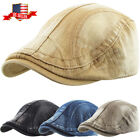 Solid Washed Gatsby Cap Mens Denim Hat Golf Driving Summer Cabbie Newsboy