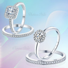 925 Sterling Silver Cushion & Round Halo Engagement Ring Set - Cubic Zirconia