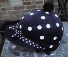 RIDING Hat Silk Skull cap Cover BLACK * WHITE SPOTS & RIBBON *With OR w/o Pompom