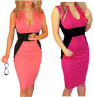New Womens Dress Christmas Party Bodycon Slimming Contrast Fitted Midi Cocktail