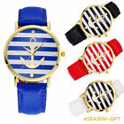 Gold Anchor Stripe Case Watch Womens Fashion Faux Leather Quartz Wrist Watch