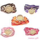 Womens Retro Leather Diamante Crystal Bling Double Wrap Cuff Bracelet Watches