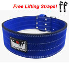 MORGAN BLUE SUEDE LEATHER WEIGHT POWER LIFTING BELT - squat adjustable buckle