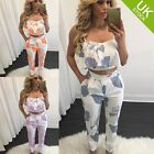 Women Floral Woven GallOff Shoulder Tops Pants Set 2PCS 3 Colors