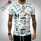 UOMO T-SHIRT TATTOO EFFETTO HIPSTER OLD SCHOOL Vintage ITALY BARBER S,M,L,XL NEW