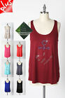 IRON PUPPY WOMEN'S PLUS ANCHOR STONE BAMBOO BASIC SUMMER SOFT SLVLESS TANK TOP