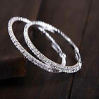 Silver Plated Hoop Earring Jewelry Women Crystal Diamante Rhinestone Wedding Hot