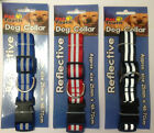 Reflective Hi Vis Pet Collar And Lead Set Red Blue Red Easy Clip On Off NEW