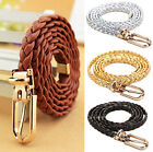 Waist Belt Braided Buckle Strap Waistband Narrow Thin Womens PU Leather Vivid