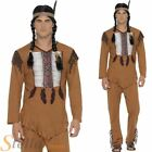 Mens Native American Warrior Red Indian Western Cowboy Adult Fancy Dress Costume