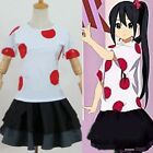 NEW  K-ON!Nakano Azusa Cosplay Costume Red Polka Shirt+Black Short Skirt