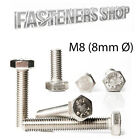 Hexagon Head Bolts / Screws DIN 933 A2 Stainless Steel M8 (8mmØ) Various Lengths