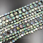 """Natural Multi Color Abalone Shell Coin Square Flat Oval Gemstones Beads 7.5"""""""