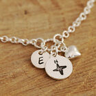Personalised Sterling Silver Bracelet Compass Charm + Heart Charm + Initial Tag