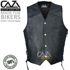 Mens Full Leather Motorcycle Waistcoat Biker Style Black Vest with Side Laced up