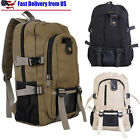 Men's Women Canvas Backpack Rucksack Laptop Shoulder Travel Hiking Camping Bag