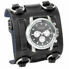 Men's Punk Style Black Wide Leather Watch Three Leather Straps Cuff Wristwatch