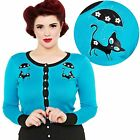 Voodoo Vixen Clarissa Retro Cat Cardigan Pin Up Rockabilly 50s 60s Vintage Kitty