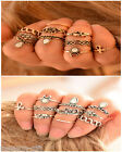 GIFT 10Pcs/Set Women Retro Calf Elephant Rhinestone Exaggerated Ring Set Jewelry