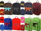 Large Quilted Monogrammable Child Girl School Bookbag Ladies Microfiber Backpack