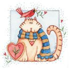 Togetherness  Cat with Cardinal  Tshirt    Sizes/Colors