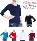 Women's One Size Long Sleeve Stretch Plain Round Scoop Neck T Shirt NEW With Tag