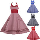 Womens Halter Vintage Retro Style Check 50s 60s Rockabilly Swing Party Dress