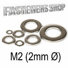 Size M2 (2mm Ø) Flat Washers A Type DIN 125 A Stainless Steel A2