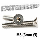 Size M3 (3mm Ø) Countersunk Bolts / Screws DIN 7991 Stainless Steel A2