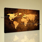 World Global Map Ocean Retro Atlas Print Canvas Large Contemporary Wall Art 3 Pc