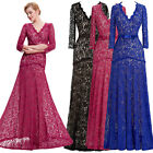 UK Women LACE Masquerade ball Gown Prom Long FORMAL Bridesmaid Dresses plus size