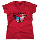 Oklahoma State Americana Patriotic Butterfly Cute Gift Ideas Junior V-Neck Tee