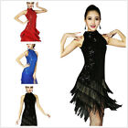 Ladies Sequins Fringe Latin Ballroom Dance Dress Fancy Costume 20s Party Flapper