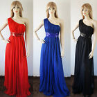 New one-shoulder chiffon Long formal Evening party prom maxi dresses sequin band