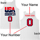 USA BASKETBALL Team Jersey Custom Name Number White Tank Top  image