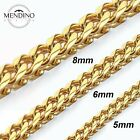 MENDINO Men's Stainless Steel Necklace Franco Box Chain Link Clasp Gold 5mm-8mm