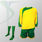 Football Team Kits - 15 x Rio Yellow / Green - Full Team Kit - All Numbered !!!!