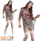 Zombie Convict Ladies Halloween Fancy Dress Prisoner Uniform Womens Costume New