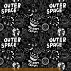 SOCK MONKEYS IN SPACE BLAST OFF WRITING KIDS QUILT SEW CRAFT FABRIC Free Oz Post