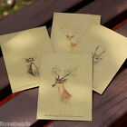 10x Vintage Kraft Style Painted Deer Craft Paper Envelopes Retro Christmas