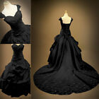 Vintage Black Gothic Wedding Dress Off The Shoulder Bridal Gown Custom Plus Size