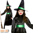 Black Wicked Witch Girls Halloween Fancy Dress Kids Childrens Witches Costume